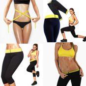 Neu Frau Damen Sporthose Anti Cellulite Wärme Effekt Fitness Hose Neoprene mit Ideal zum Tragen Fitness-Studio, beim Joggen, Spatzieren Capri- Größe L